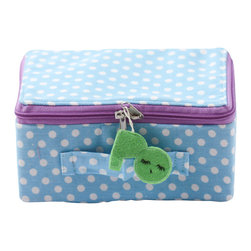 Pakhuis Oost - Dotted Fabric Suitcase, Sky Blue with White Dots - Perfect for decoration, storing small treasures or playing out a little travel adventure throughout the house, this polka-dot suitcase features a colorful zipper and cheerful tag.