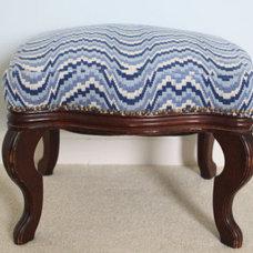 Needlepoint Ikat fabric antique wooden stool ottoman by WWBdesign