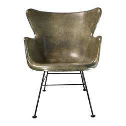 """Pre-owned Lawrence Peabody Selig Fiberglass Wingback - Vintage Mid-Century Modern fiberglass wingback shell chair by Lawrence Peabody for Selig.     There is one very minor repaired crack on the underside of the front lip. It is not visible from the front.     Seat Height: 16"""""""
