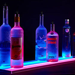 "Armana - 9"" Wide Acrylic LED Illuminated Liquor Shelf and Display, 8 Foot - Update your home bar, restaurant, lounge, club, liquor store, or commercial bar, by adding Armana Double Wide Liquor Shelves. Our shelves are the thinnest on the market and include powerful RGB LEDs that are so bright, you may need the included wireless remote control to dim them."