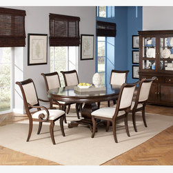 "Coaster 7 PC Formal Rich Cherry Round Dining Set 20"" Leaf Table Chairs - This beautiful pedestal dining table and chair set will be a lovely addition to your semi-formal dining room. The smooth table top features a convenient leaf so the length can be extended from 54 to 74 inches, allowing you to easily accommodate guests. The matching chairs have softly rolled backs and plush seats, covered in a beige fabric that will blend beautifully with your home decor. The collection is made from poplar solids and cherry veneers."