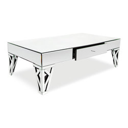 "Zuri Furniture - Azure Mirrored Glass Coffee Table - A design that speaks ""ultra high-end"", the Azure collection is both substantial in size and presence. Elegant mirrored details give this coffee table a sophisticated Hollywood regency look while providing a mirrored drawer for hidden storage space. Azure's mirrored reflection is ideal for complementing that special contemporary area rug or anyhardwood floor. Pair with other items in this collection to complete the look!"
