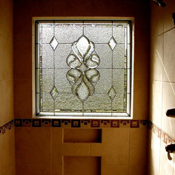 Decorative Glass Solutions - Alston - Leaded and Beveled Stained Glass privacy window installed in a shower