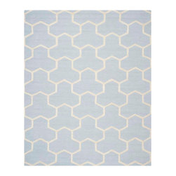 Safavieh - Georges Hand Tufted Rug, Light Blue / Ivory 8' X 10' - Construction Method: Hand Tufted. Country of Origin: India. Care Instructions: Vacuum Regularly To Prevent Dust And Crumbs From Settling Into The Roots Of The Fibers. Avoid Direct And Continuous Exposure To Sunlight. Use Rug Protectors Under The Legs Of Heavy Furniture To Avoid Flattening Piles. Do Not Pull Loose Ends; Clip Them With Scissors To Remove. Turn Carpet Occasionally To Equalize Wear. Remove Spills Immediately. Bring classic style to your bedroom, living room, or home office with a richly-dimensional Safavieh Cambridge Rug. Artfully hand-tufted, these plush wool area rugs are crafted with plush and loop textures to highlight timeless motifs updated for today's homes in fashion colors.