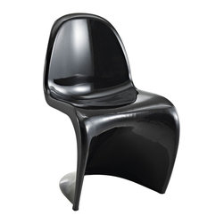 "Modway - Slither Dining Chair in Black - Sleek and sturdy, rock back and forth in comfort with this injection molded marvel. Constructed from a single piece of strong ABS plastic, the ""s"" shaped Slither chair can be found in many fashionable settings. From frozen yogurt and ice cream shops, to dining areas in need of a little zest, the design is versatile, fun and lively. Surprisingly cushy, choose from a selection of vibrant colors that won't fade over time. Slither is also perfect for spaces short on room. Includes: One - Slither Chair; Tough ABS Construction; Stackable up to 4 High; Ergonomically Designed; Dimensions: 23""L x 19""W x 33""H; Seat Height: 18""H"