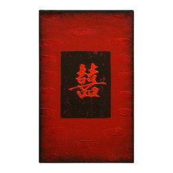 """China Furniture and Arts - Chinese Character Oil Painting - Happiness - A fine example of contemporary Chinese art, this piece is finely prepared with raised gesso and hand-painted with oil on canvas. The Chinese character """"Xi"""", meaning """"happiness"""", is prominently featured at the center. Rich with deep red and black tones, it is stretched and framed with wood on the back. Ready to be hung."""