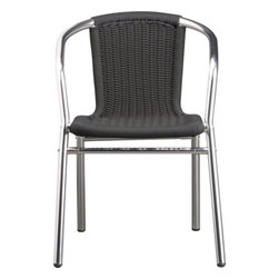 rex grey arm chair - faux wicker. Fool the elements. Wicked wicker impersonation in handwoven plastic piping with polished aluminum stands up to the outdoors. Smart, stackable sidewalk café presence.- Handwoven, UV-resistant, 100% recyclable grey resin seat and back- Polished aluminum frame with anodized coating- Indoor/outdoor use- Stacks for storage- During winter months store indoors or keep covered- Made in ChinaInternet only.