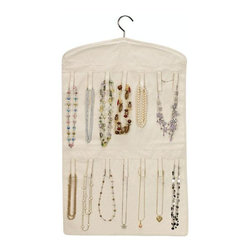 Home Decorators Collection - Double-Sided Jewelry Organizer - This hanging jewelry organizer will fit easily into any closet or storage area. With ample room for your bracelets, necklaces and other accessories, you will love having this storage solution as a part of your home. Order yours today. Cotton construction will last for years to come. 35 fabric loops provide ample space for your favorite jewelry pieces.