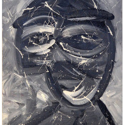 Untitled (Original) By Elliott C  Nathan - This abstracted face was painted in acrylics as a train-of-thought piece sitting atop a hard panel with wooden edges.