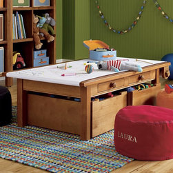 Activity Table Complete Set, Light Honey - Playrooms are great spaces for arts and crafts. This table not only allows for hours of painting and doodling, but also serves as great storage.