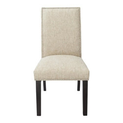 4D Concepts - Burnett Parsons Chair in Sand Woven Burlap Up - Beautifully crafted upholstered parsons chair. Will slide with ease under any table. Upholstered in a textured burla weave cotton. Decorative silver nail heads accenting the edge. Will fit perfectly in the home and will give any room an added touch. Thick solid wood legs are in a rich espresso finish. Constructed of wood and fabric. Clean with a dry non abrasive cloth. Minimal assembly required26 in. L x 19.5 in. W x 38.5 in. H (23 lbs.)