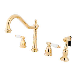 "Kingston Brass - 8"" Widespread Kitchen Faucet with Brass Sprayer - Victorian style Two Handle Deck Mount, 4 hole Sink application, 8"" Widespread, Solid Brass Side Spray, Fabricated from solid brass material for durability and reliability, Premium color finish resist tarnishing and corrosion, 360 degree turn swivel spout, 1/4 turn On/Off water control mechanism, 1/2"" - 14 NPS male threaded inlets, Duraseal washerless valve, 2.2 GPM (8.3 LPM) Max at 60 PSI, Integrated removable aerator, 8-1/4"" spout reach from faucet body, 9-1/4"" overall height, Ten Year Limited Warranty to the original consumer to be free from defects in material and finish.; Brass Sprayer Included; 1/4 Turn Washerless Cartridge; Porcelain Lever Handle; PVD polished Brass Finish; 4 Holes Installation with an 8-1/4"" spout reach; Material: Brass; Finish: Polished Brass Finish; Collection: Heritage"