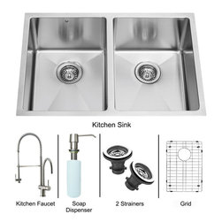 Vigo - All in One 29in.  Undermount Double Bowl Kitchen Sink and Faucet Set - Create an inviting new look in your kitchen with a VIGO All in One Kitchen Set featuring a 29in.  Undermount kitchen sink, faucet, soap dispenser, two matching bottom grids and two sink strainers.