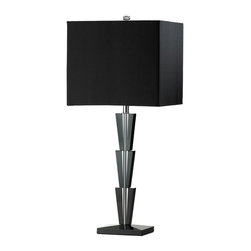 "Cyan Design Deco Table Lamp in Black Finish - Cyan Design presents the Deco Collection's Table Lamp! With a Black finish, and Black Linen Shade, this piece's Transitional style will be a great addition to any home Decor. Composed of Crystal material. Dimensions: 29"" High, 12"" Wide, 12"" Deep."