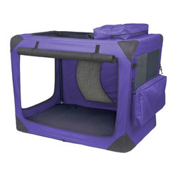 "Pet Gear - Generation II Deluxe Portable Soft Dog Crate in Lavender - Intermediate - -Made with tough, water-resistant materials. -Steel frame safely houses even excited pets. -Top, front and side entry doors for easy access. -Folds compactly for storage. -Removable, waterproof inner tray cleans easily. -Reversible nylon and fleece crate pad with storage bag. -Includes adjustable leash. -Includes toy and treat bag. -Dimensions: 23"" H x 21"" W x 30"" D. -Capacity: 50 lbs."