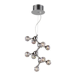 Elk Lighting - Elk Lighting 30024/9 Molecular 9-Light Chandelier in Chrome w/ Rainbow Glass - 9-Light Chandelier in Chrome w/ Rainbow Glass belongs to Molecular Collection by With A Fantastic Design Resembling The Structure Of A Molecule, The Molecular Collection Exhibits Groups Of ��_��_��_��_��_Atoms��_��_��_��_��_ Made Of Iridescent Blown Glass. With A Chrome Plated Finish, This Collection Has A Continuous Network Of Tapered Metal Extensions That Seamlessly Connect Each Light In A Sculpture-Like Fashion. Chandelier (1)