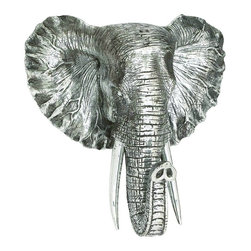 Benzara - Majestic Elephant Head Wall statue Silver Realistic Long Tusks Decor 44223 - Majestic elephant head wall sculpture in silver finish polystone with realistic detailing and long tusks display Decor
