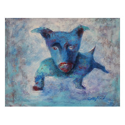"""Just A Dog, Original, Painting - """"I like to use acrylic vs the oil because acrylic dries fast and I can express my feelings with no waiting of the paints will dry for the next lever of the artwork. I also use spatulas, palette knives and brushes(more rare). Sometimes I like to paint animals. Not in realistic, nor animation style, but something in-between. This dog is little bit strange, but he is unique, so he will be ok! This painting is varnished, the sides are finished, black. The painting has wire and it's ready to hang."""""""