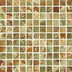 """Marbleville - Light Green Onyx 1"""" x 1"""" Polished Square Pattern Mesh-Mounted Marble Mosaic  in - Premium Grade Light Green Onyx 1"""" x 1"""" Polished Mesh-Mounted Marble Mosaic is a splendid Tile to add to your decor. Its aesthetically pleasing look can add great value to the any ambience. This Mosaic Tile is constructed from durable, selected natural stone Marble material. The tile is manufactured to a high standard, each tile is hand selected to ensure quality. It is perfect for any interior/exterior projects such as kitchen backsplash, bathroom flooring, shower surround, countertop, dining room, entryway, corridor, balcony, spa, pool, fountain, etc."""