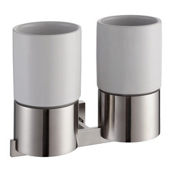 Kraus - Kraus Aura Bathroom Accessories - Wall-mounted Double Ceramic Tumbler Holder Bru - *Kraus  is the premier manufacturer and designer of the bath fixtures and accessories, offering top of the line products that showcase a deft blending of breakthrough technology and aesthetic ardor