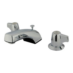 "Kingston Brass - Two Handle 8"" to 16"" Widespread Lavatory Faucet with Brass Pop-up - Two Handle Deck Mount, 3 Hole Sink Application, 8"" to 16"" Widespread, Fabricated from solid brass material for durability and reliability, Premium color finish resists tarnishing and corrosion, 1/4 turn On/Off water control mechanism, 1/2"" IPS male threaded inlets with rigid copper piping, Duraseal washerless cartridge, 2.2 GPM (8.3 LPM) Max at 60 PSI, Integrated removable aerator, 7"" spout reach from faucet body, 3-3/4"" overall height.; Drip-free washerless cartridge system; Designed for a lifetime of performance; Meets ASME A112.18.1, ANSI/NSF 61 Sec. 9 code; All mounting hardware included; Matching accessories available; Material: Brass; Finish: Chrome; Collection: Americana"