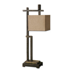 Uttermost - Uttermost Porano Desk Lamp w/ Hardback Box Shade in Rusty Beige Linen - Desk Lamp w/ Hardback Box Shade in Rusty Beige Linen belongs to Porano Collection by Uttermost Dark bronze metal with gold undertones and distressed, mossy green porcelain details with rust undertones. The square hardback box shade is a rusty beige linen fabric with a distressed black inner liner with gold undertones. Desk Lamp (1)