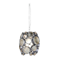 """Varaluz - Contemporary Varaluz Fascination Nevada Reclaimed Glass Mini Pendant - This contemporary eco-friendly reclaimed glass mini pendant light from Varaluz lives up to its name. The Fascination collection features 70% or greater hand-forged recycled steel in its frame of various size circles. The circles are filled with the warm hues of reclaimed amber bottle glass. As the colored glass scatters and diffuses the light it glistens on the low-VOC (volatile organic compound) silvery Nevada finish of the steel frame and canopy. A gorgeous environmentally conscious design from Varaluz. Reclaimed amber bottle glass. Recycled steel. Low-VOC Nevada finish. Takes one 100 watt bulb (not included). 7"""" wide. 8"""" high. 10' of wire included. Canopy is 6"""" wide. Hang weight is 6 1/2 lbs.  Reclaimed amber bottle glass. l  Recycled steel.   Low-VOC Nevada finish.   Takes one 100 watt bulb (not included).   7"""" wide.   8"""" high.   10' of wire included.   Canopy is 6"""" wide.   Hang weight is 6 1/2 lbs."""