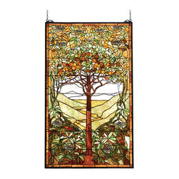 Meyda Tiffany - Meyda Tiffany Tiffany Tree Of Life Window X-56047 - The traditional tones and details of this Meyda Tiffany window make it an excellent addition to your home's decor. Featuring a single tree with rolling hills in the backdrop, this elegant design features a blend of earth tones hundreds of individual pieces that create captivate and dazzle the eye.