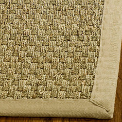 Safavieh - Hand-Woven Sisal Natural/Beige Seagrass Area Rug (6' Square) - Dress up any space with this natural hand-woven rug made from seagrass with a cotton backing. The fringeless border on this rug gives it a clean look.