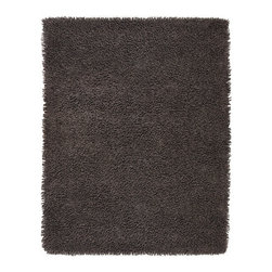 Anji Silky Shag Graphite 8' x 10' - Softer and silkier than traditional shag rugs, our Silky Shag Graphite creates a uniquely luxurious look. Custom blended from cotton and rayon made from bamboo, these rugs are remarkably soft and deliciously luxurious, for sharp, sustainable style. A small amount of shedding is normal when these rugs are brand new. Available in five sizes; backed with cotton and natural latex.Care: Vacuum without beater brush, or use suction attachment only. Professional cleaning is recommended for stained or soiled rugs. Dimensions: 8'W x 10'L.