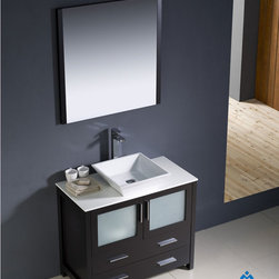 "Fresca - Fresca Torino 36"" Modern Single Vessel Sink Bathroom Vanity Set - Fresca is pleased to usher in a new age of customization with the introduction of its Torino line. The frosted glass panels of the doors balance out the sleek and modern lines of Torino, making it fit perfectly in either 'Town' or 'Country' decor. Available in the rich finishes of Espresso, Glossy White, Light Oak and Walnut Brown, all of the vanities in the Torino line come with either a ceramic vessel bowl or the option of a sleek modern ceramic integrated sink."