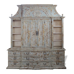 Koenig Collection - French Old World Entertainment Center Paris, Celeste Distressed with Doors - French Old World Entertainment Center Paris