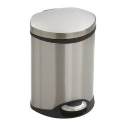 Safco - Step-On Medical - 1.5 Gallon - Stainless Steel - Make a smooth impression with the Step-On Medical Receptacle. This hands free receptacle has a unique shape allowing it to fit into room corners to help save on valuable space and is fingerprint proof, ensuring it will always look its best. The receptacle features a rigid plastic liner with built-in bag retainer and the lid closes slowly to prevent slamming of the lid and for a more quiet close. Available in Steel, Red or White.