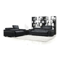 Zuri Furniture - Black Angelo Suede Sofa With Loveseat - Angelo is covered in a deep black microsuede complete with silver detailing and movable headrests for functional fashion.