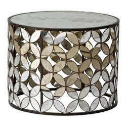 Flower Mirror Drum Table - It's a bit glam, it's kinda floral, it's a little disco, and it's even a little Grandma, in a good way. Now how many tables can you say that about?