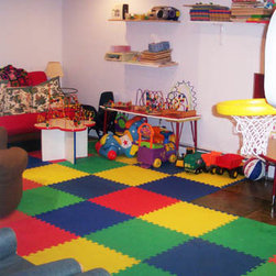 Foam Flooring Playmats - Foam mats for kids play rooms can be made safe, soft and comfortable with Greatmats interlocking foam mats. Your entire space can be filled with colorful puzzle foam mats wall to wall with customer colors. If you have a girl consider Purple and Pink, for boys consider a Blue and Green combination. Whatever your choice, our interlocking foam mats in 5/8 inch thickness will be a wonderful addition to your child's floor play area in your house.