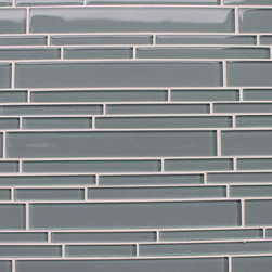 Rocky Point Tile - 10 Square Feet - Chimney Smoke Blue Gray Random Strip Glass Mosaic Tiles - Add a cool touch to your bathroom with these beautiful, glass mosaic subway tiles that re-create the beauty of shiny wet river rock in your tub surround. Or, install in the kitchen for a backsplash that pairs perfectly with stainless steel, stone or a glossy white porcelain sink.