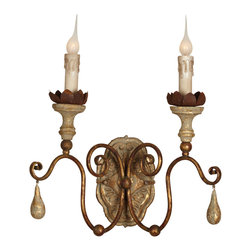 Kathy Kuo Home - Tuscan French Style Caravelle Aged Gold Curl Arm Wall Sconce - Set of 2 - Burnished beech wood sconces, accented in wrought iron, add a touch of Tuscany to your walls. The handsome, hand carved pair holds candelabra bulbs on curled arms. The contrasting combination of dark iron and light glass casts a cozy glow in any romantic room.