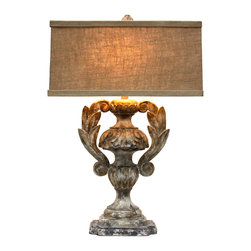 Trofeo Lamp - Illuminate your home with imperial grace and classical motifs when you add the impressive scale and artisan finish of the Trofeo Lamp. Its vase-like baluster shape and old-world details culminate in stylized curves of acanthus leaves. The rectangular shade is a versatile natural linen that gives the light a flattering hue, while a many-layered finish on the lamp base provides Arcadian splendor. The lamp is of highest quality with solid brass cap fittings, a fabric-covered cord, and a 150-watt maximum voltage.