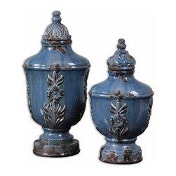 www.essentialsinside.com: eilam, decorative containers, blue ceramic set of 2 - Eilam, Decorative Containers, Set Of 2 by Uttermost, available at www.essentialsinside.com