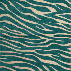 Unknown - Hand-tufted Contemporary Animal Print Pattern Blue Rug (5' x 7'6) - A youthful spirit enlivens Esprit,a  of contemporary rugs. Punctuated by bold color and large-scale designs,this playful range packs a powerful design punch at a reasonable price.