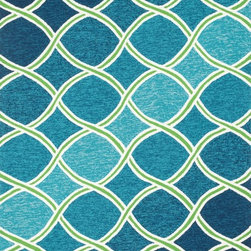 """Loloi Rugs - Loloi Rugs Venice Beach Collection - Blue/Green, 7'-10"""" Round - The Venice Beach Collection brightens up your home - inside or out - with a series of appealing, modern, hand-hooked designs from China. Made of 100-percent polypropylene, the rugs are UV and mildew-resistant."""