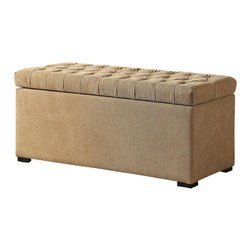 Ave Six - 39 in. Tufted Storage Bench - Covered in a high performance, easy care Shultz nugget fabric.