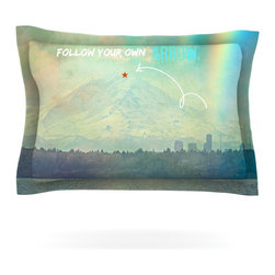 "Kess InHouse - Robin Dickinson ""Follow Your Own Arrow"" City Landscape Pillow Sham (Cotton, 40"" - Pairing your already chic duvet cover with playful pillow shams is the perfect way to tie your bedroom together. There are endless possibilities to feed your artistic palette with these imaginative pillow shams. It will looks so elegant you won't want ruin the masterpiece you have created when you go to bed. Not only are these pillow shams nice to look at they are also made from a high quality cotton blend. They are so soft that they will elevate your sleep up to level that is beyond Cloud 9. We always print our goods with the highest quality printing process in order to maintain the integrity of the art that you are adeptly displaying. This means that you won't have to worry about your art fading or your sham loosing it's freshness."