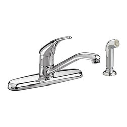 American Standard - American Standard 4175.501.002 Colony Kitchen Faucet with Handspray, Chrome - This American Standard 4175.501.002 Colony Soft Single Control Kitchen Faucet, Separate Color-Matched Handspray is part of the Colony collection, and comes in a beautiful Chrome finish. This single-control kitchen faucet features a ceramic disc valve for drip-free performance, a durable cast brass waterway, a separate side spray that can be mounted on either side of the faucet, and a limited lifetime warranty on the function and finish.