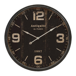 IMAX Imports - Robertson Black Wall Clock - Got time for this? A vintage timepiece goes Paris chic with a gently distress black painted face and large, easy-to-read numerals to mark the hours.