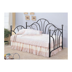 "Coaster - ""Coaster Daybed, Twin, Black"" - ""This metal daybed adds great style to a bedroom or a guest bedroom. The high fan shaped back creates an elegant look, with filigree knobs accenting each post. This bed offers a great place to relax during the day, and an ideal spot to sleep at bedtime. Place this multifunctional daybed in your home for a lovely style update.Finish/Color: (Black Metal)Link Spring/Innerspring Mattress RequiredAssembly Required: NoMade in China"""