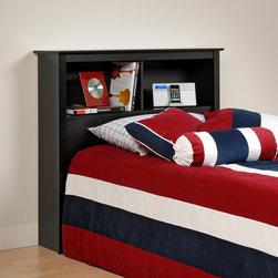 None - Broadway Black Twin Bookcase Headboard - Transform your bed into storage space with this twin bookcase headboard. Ideal for smaller bedrooms, this headboard's two compartments offer more than enough room for your bedside necessities.