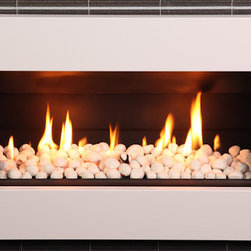 ESCEA - ESCEA Indoor Gas Suede Cream Fireplace - Ferro Front, W/ Fuel Bed, W/ Flue Bend, - The ESCEA Indoor gas fireplace with the suede cream Ferro fascia, is a sleek, contemporary style fireplace. Its low energy consumption makes it efficient and flexible. Compared to similar sized open fire it uses just a third of energy. Running completely silent this extra source of heat makes an ideal addition to any smaller room such as offices, home theaters or bedrooms. The direct vent technology ensures the fireplace will not impact on room air quality.