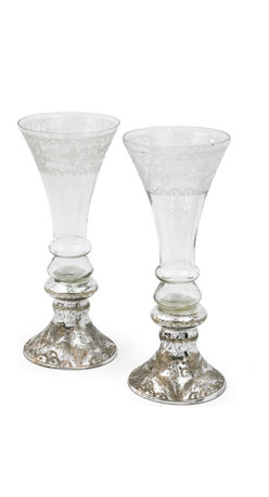 Go Home - Mercury and Glass Flutes Set of 2 - Any drink will taste fabulous out of these mercury and glass flutes. Serve champagne, mimosas, wine, or a yummy christmas cocktail out of these glasses for an elegant and festive look. Made of antiqued silver etched glass, these are sure to transform any table from ordinary to extraordinary. Pair with our baroque dinnerware sets, silk napkins, and pewter flatware for a beautiful table setting.
